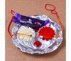 Giftacrossindia Mini Silver Plated Rakhi Thali For Raksha Bandhan