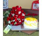 Giftacrossindia Twenty Five Red Roses Bouquet With Pineapple Cake