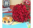 Giftacrossindia Hundred Red Roses Bouquet With Butterscotch Cake