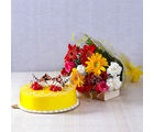 Giftacrossindia Fifteen Assorted Flowers with Half Kg Pineapple Cake (GAIMPHD0561)