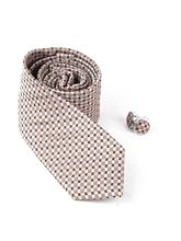 Giftacrossindia Beige Brown Weaved Tie and Cufflink (GAIMCOM0013-D-03)