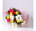 Giftacrossindia Bunch of White Gerberas with Multi Colour Roses (GAIMPHD0026)