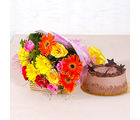 Giftacrossindia Assorted 15 flowers Bunch with Chocolate Cake (GAIMPHD0347)