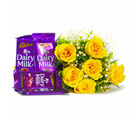 Giftacrossindia 6 Yellow Roses of Bouquet with Assorted Bars of Cadbury Dairy Milk Chocolates (GAIMPHD0116)