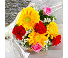 Giftacrossindia Bouquet of Bright Color Gerberas, Carnations with Roses (GAIMPHD0015)