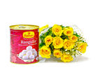 Giftacrossindia Lovely Bouquet of Ten Yellow Roses with Rasgulla (GAIMPHD0418)
