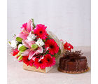 Giftacrossindia Pink Lilies and Gerberas Bouquet with Chocolate Cake (GAIMPHD0330)