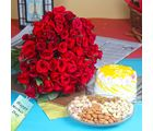 Giftacrossindia Hundred Red Roses Bouquet With Mix Dryfruits And Pineapple Cake