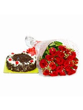 Giftacrossindia 20 Romantic Red Roses Bouquet with Black Forest Cake (GAIMPHD0299)