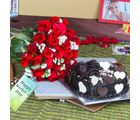 Giftacrossindia Heartshape Chocolate Cake With Twenty Five Red Roses Bouquet