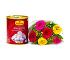 Giftacrossindia Bouquet of Six Mix Roses with Mouthwatering Rasgullas (GAIMPHD0410)