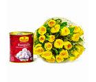 Giftacrossindia Bouquet of 20 Yellow Roses with Bengali Sweet Rasgullas (GAIMPHD0427)