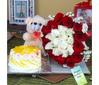 Giftacrossindia Pineapple Cake And Teddy Bear With Mix Roses For Mom