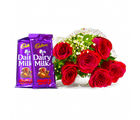 Giftacrossindia Six Red Roses Bouquet with Bars of Cadbury Fruit and Nuts Chocolate (GAIMPHD0107)