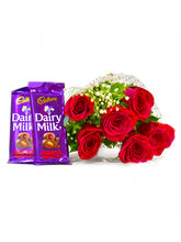 Giftacrossindia Six Red Roses Bouquet With Bars Of...