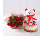 Giftacrossindia Ten Red Roses with Pineapple cake and Teddy Bear (GAIMPHD0491)