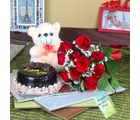 Giftacrossindia Chocolate Cake And Teddy Bear With Red Roses On Mothers Day