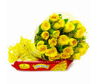 Giftacrossindia Friendly 20 Yellow Roses Bouquet with Soan Papdi (GAIMPHD0425)