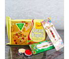Giftacrossindia Set Of Two Fancy Rakhis With Soan Papdi