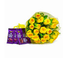 Giftacrossindia Bunch of 20 Yellow Roses with Bars of Cadbury Dairy Milk Chocolates (GAIMPHD0148)