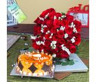 Giftacrossindia Butterscotch Cake With Fifty Red Roses Bouquet