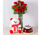 Giftacrossindia Red Roses Vase with Chocolate Vanilla Cake and Teddy Bear (GAIMPHD0594)