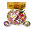 Giftacrossindia Ganesha Diwali Thali And Earthen Diya With Gold Plated Lakshmi Note