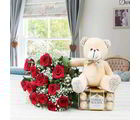 Giftacrossindia Ferrero Rocher Chocolate With Roses Bouquet And Teddy Bear (GAIVALHD20190445)