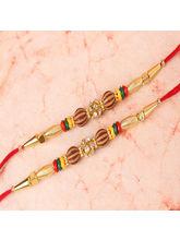 Giftacrossindia Double Rakhi Of Golden Design With...