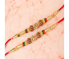 Giftacrossindia Double Rakhi Of Golden Design With Diamond Studded