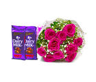 Giftacrossindia Bunch of Ten Pink Roses with 2 Cadbury Dairy Milk Fruit N Nut Bars (GAIMPHD0133)
