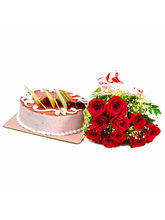 Giftacrossindia Bouquet Of Red Roses With Strawber...