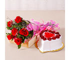 Giftacrossindia Six Special Red Roses Bunch with Heart Shape Strawberry Cake (GAIMPHD0315)