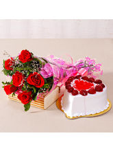 Giftacrossindia Six Special Red Roses Bunch With H...