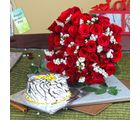 Giftacrossindia Vanilla Cake With Fifty Red Roses Bouquet