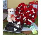 Giftacrossindia Heartshape Cake And Roses With Teddy Bear For Mothers Day