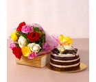 Giftacrossindia Mix Roses Bouquet with Chocolate Sponge Creamy Cake (GAIMPHD0536)