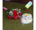 Giftacrossindia Six Red Roses Bouquet With Vanilla Cake