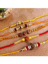Giftacrossindia Set Of 5 Ethnic Rakhi