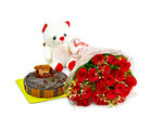 Giftacrossindia Bouquet of 20 Red Roses with Cute Teddy and Chocolate Cake (GAIMPHD0485)
