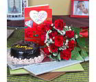 Giftacrossindia Chocolate Cake With Roses Bouquet And Love Greeting Card (GAIVALHD20190360)