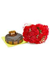 Giftacrossindia 20 Red Carnatons and Chocolate Cake (GAIMPHD0270)