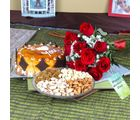 Giftacrossindia Assorted Dryfruits With Butterscotch Cake And Red Roses