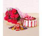 Giftacrossindia Flower Combo of Carnations, Cakes and Chocolates (GAIMPHD0514)