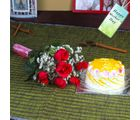 Giftacrossindia Six Red Roses Bouquet With Pineapple Cake