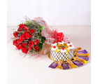 Giftacrossindia Eighteen Red Roses with Pineapple cake and Bars of chocolates (GAIMPHD0101)