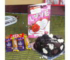 Giftacrossindia Assorted Chocolate With Heart Shape Chocolate Cake And Love Greeting Card (GAIVALHD20190327)