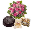 Giftacrossindia Pink Valentine Flame Hamper Including Chocolate Cake With Teddy And Ferrero Rocher Chocolates Box (GAIVALHD20190048)