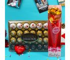 Giftacrossindia Ferrero Collection Chocolate Box With Golden Rose For Mothers Day (GAICORMOT2017016)