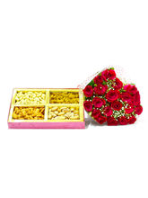 Giftacrossindia Bouquet Of 20 Roses With Box Of 1 ...